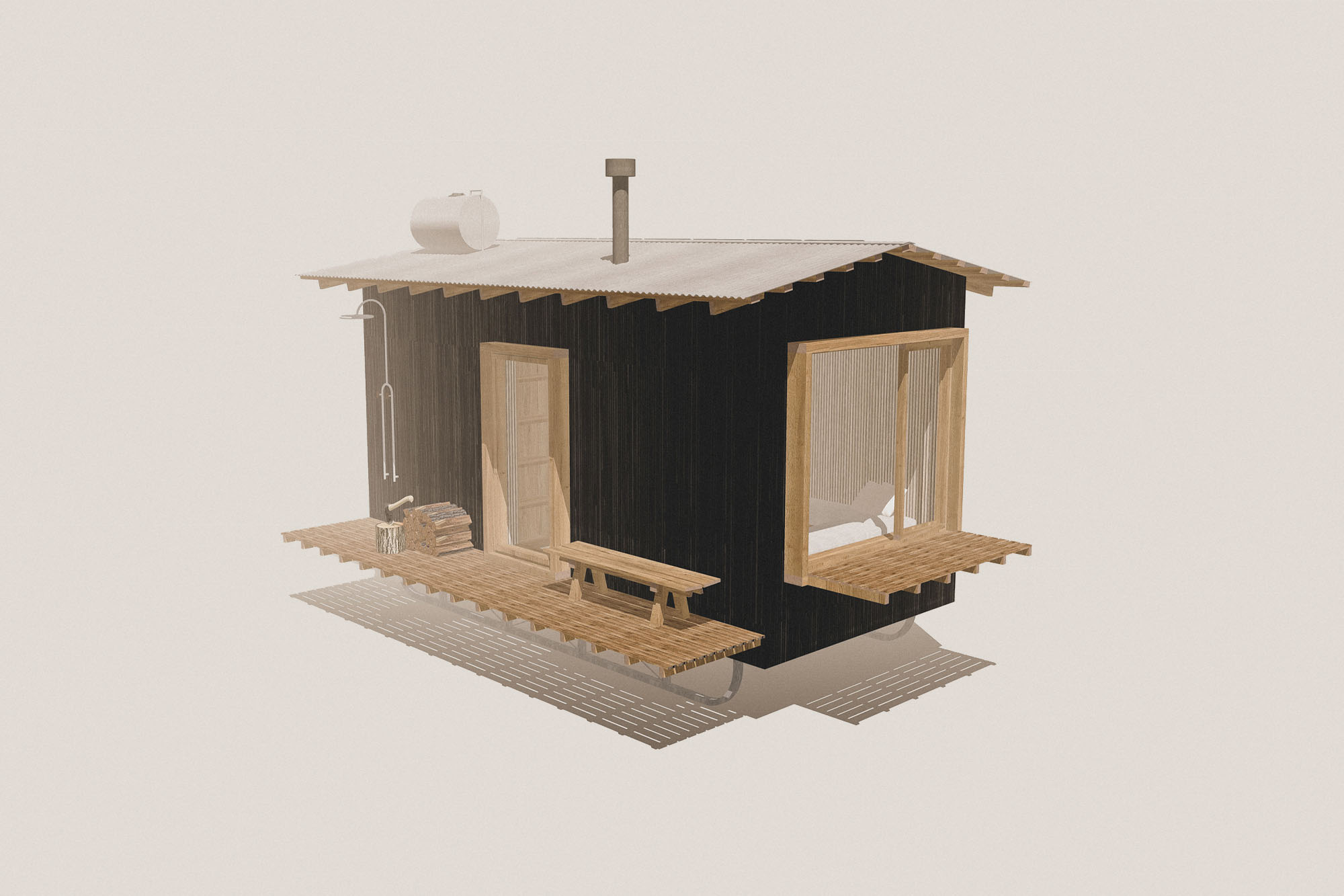 off grid tiny home wooden self contained nomad cabin with living area, bathroom, kitchen, stove, mezzanine bedroom, shower