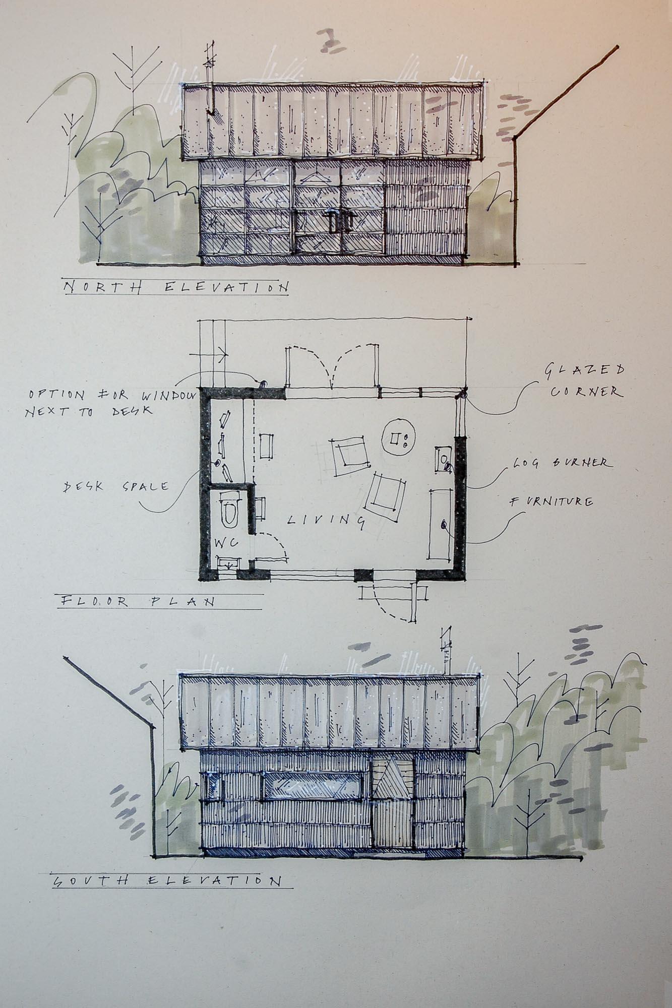 hand drawn sketch of garden cabin