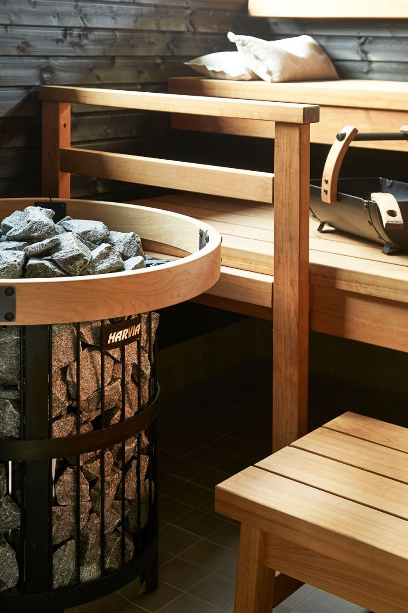 off-grid wood fired nomad cabin sauna with harvia heater and wooden benches