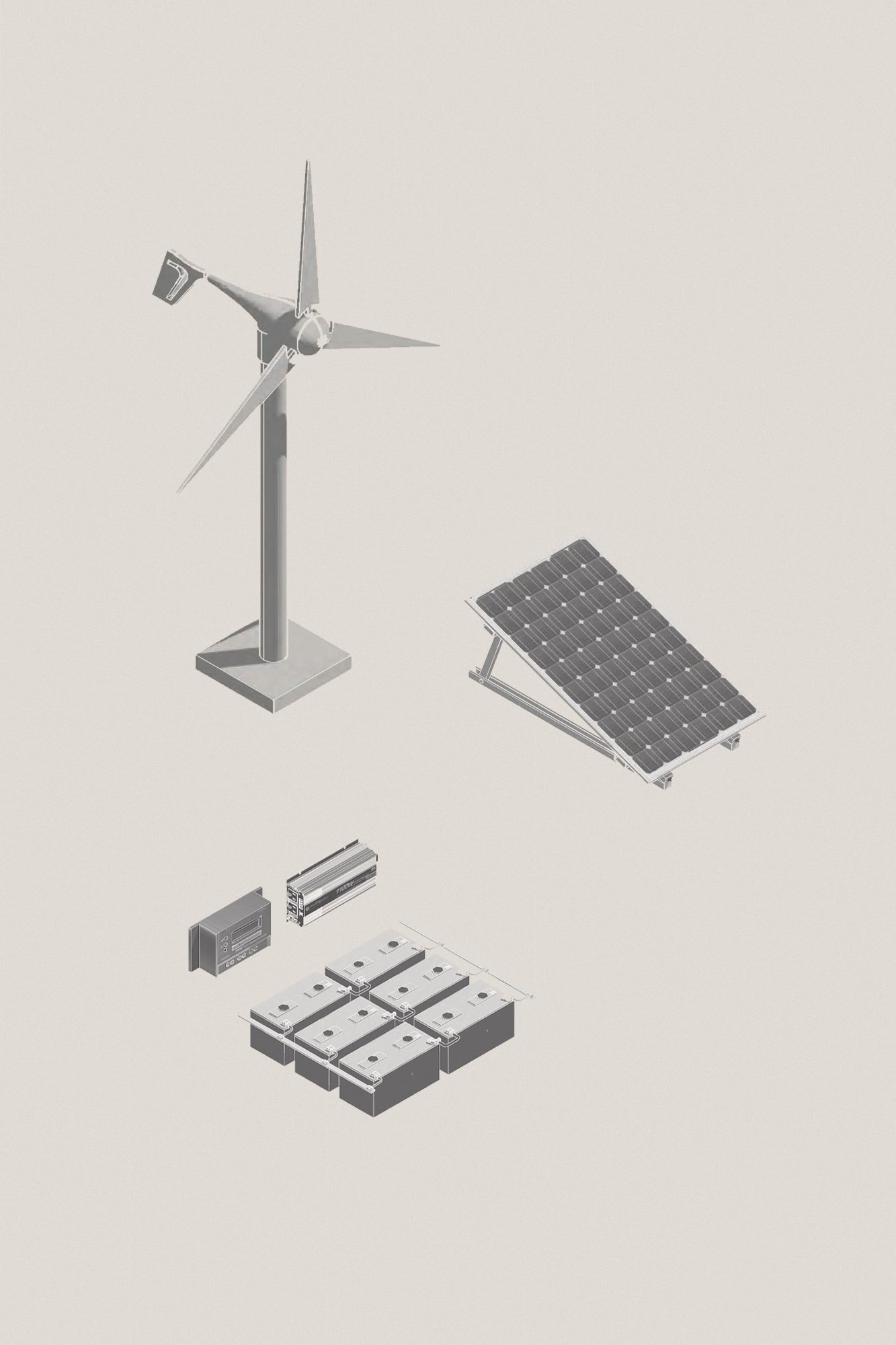 off grid cabin wind turbine, solar panel, charge controllers and battery storage