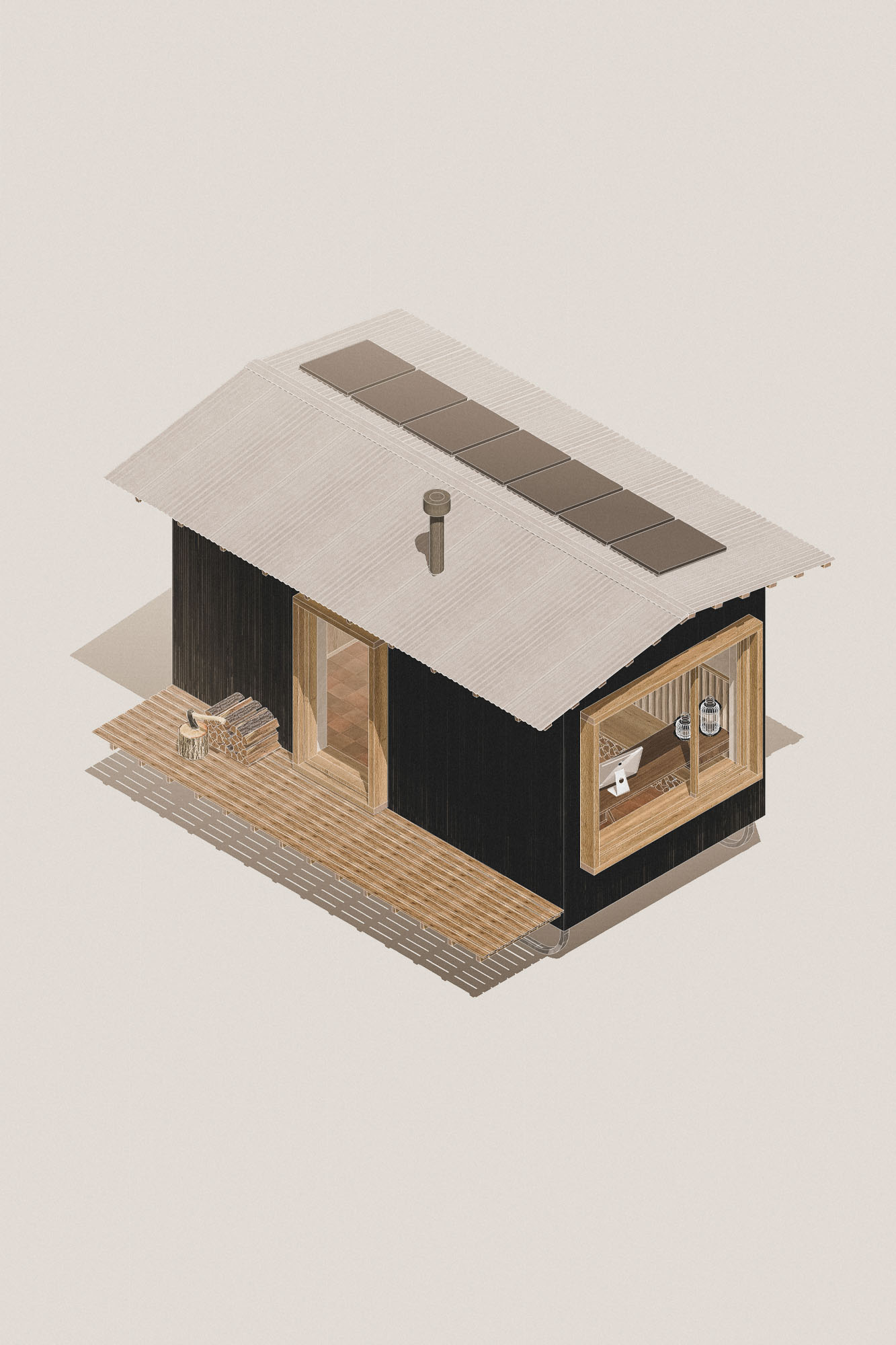 tiny home wooden nomad cabin office with office desk, wood burning stove and storage