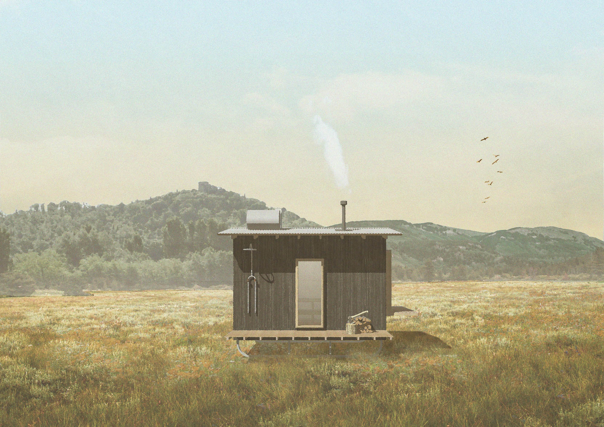 off-grid wood fired nomad cabin sauna in a field with outdoor shower and stack of logs